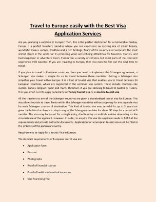 Travel to Europe easily with the Best Visa Application Services