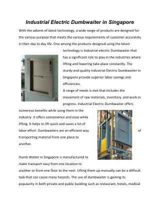 Industrial Electric Dumbwaiter in Singapore
