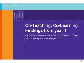 Co-Teaching, Co-Learning Findings from year 1
