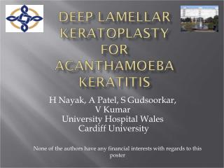 Deep Lamellar Keratoplasty for Acanthamoeba keratitis