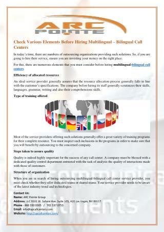 Check Various Elements Before Hiring Multilingual – Bilingual Call Centers