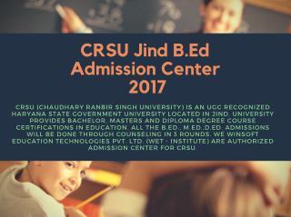 CRSU B.ED Admission 2017