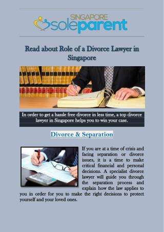 Read about Role of a Divorce Lawyer in Singapore