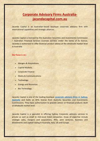 corporate advisory firms australia