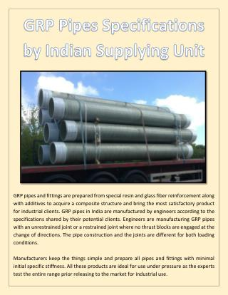 GRP Pipes Specifications by Indian Supplying Unit