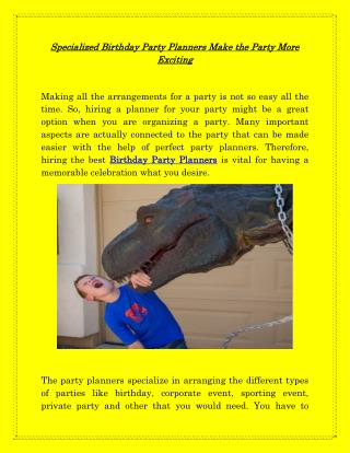 Birthday Party Planner | Dinocrewentertainment