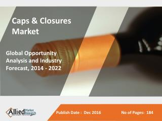 Caps & Closures Market is Expected to Reach $56,057 Million, Globally, by 2022,