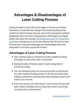 Advantages & Disadvantages of Laser Cutting Process
