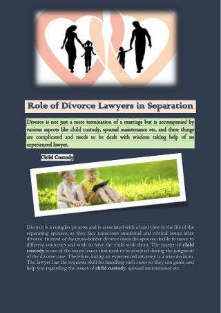 Role of Divorce Lawyers in Separation