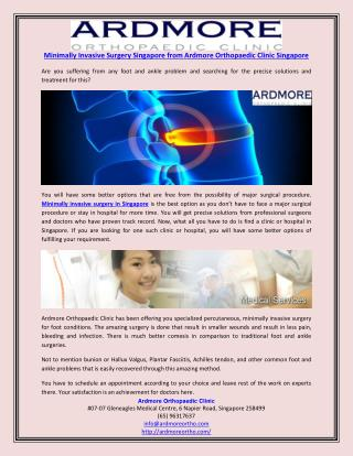 Minimally Invasive Surgery Singapore from Ardmore Orthopaedic Clinic Singapore