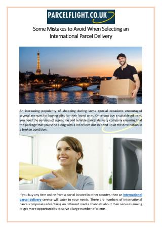 Some Mistakes To Avoid When Selecting An International Parcel Delivery