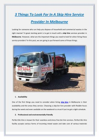3 Things To Look For In A Skip Hire Service Provider In Melbourne