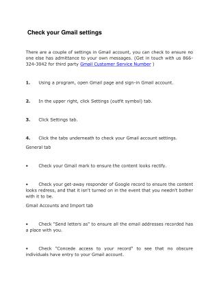 Check Your Gmail Settings