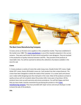 The Best Crane Manufacturing Company