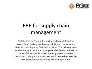 ERP for supply chain management in Pune | ERP for supply chain management and distribution
