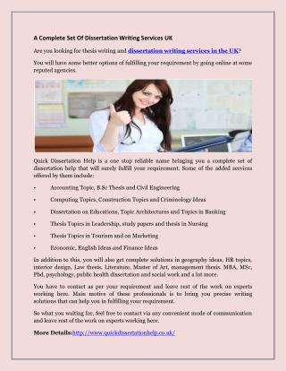 A Complete Set Of Dissertation Writing Services UK