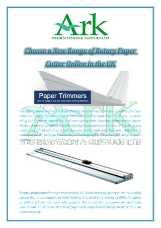 Choose a New Range of Rotary Paper Cutter Online in the UK