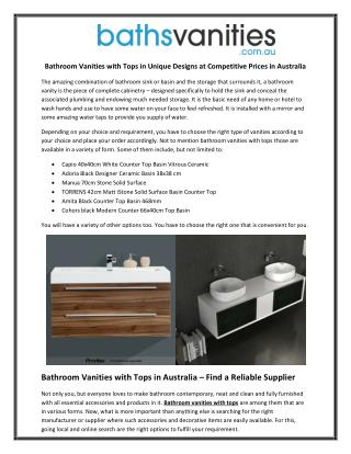 Bathroom Vanities with Tops in Unique Designs at Competitive Prices in Australia