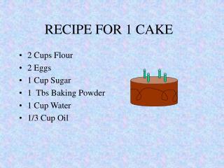 RECIPE FOR 1 CAKE