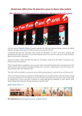 Airtel now offers free 4G data for a year to those who switch