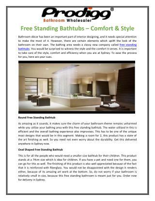 Free Standing Bathtubs – Comfort & Style