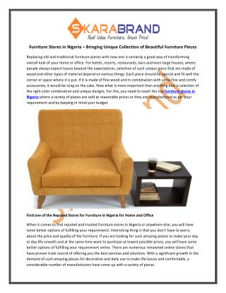 Furniture Stores in Nigeria – Bringing Unique Collection of Beautiful Furniture Pieces
