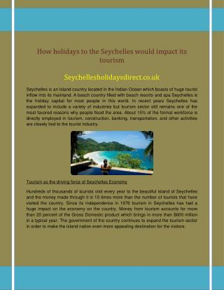 How holidays to the Seychelles would impact its tourism