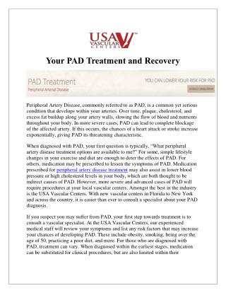 PAD Treatment and Recovery at USA Vascular Center