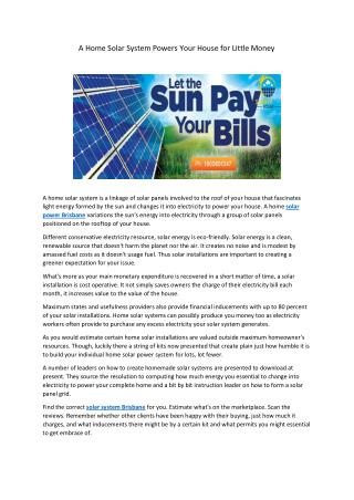 A Home Solar System Powers Your House for Little Money
