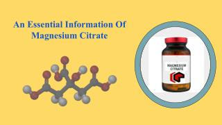An Essential Information Of Magnesium Citrate