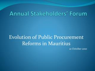 Annual Stakeholders  Forum