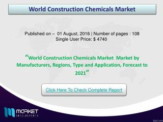 World Construction Chemicals Market  - China & Australia Recorded as the Fastest Growing Regions!
