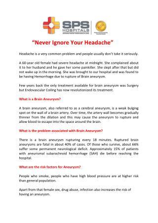 Never Ignore Your Headache