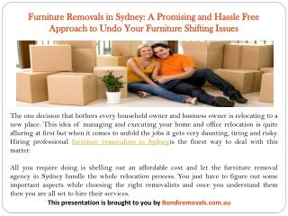 Furniture Removals in Sydney: A Promising and Hassle Free Approach to Undo Your Furniture Shifting Issues