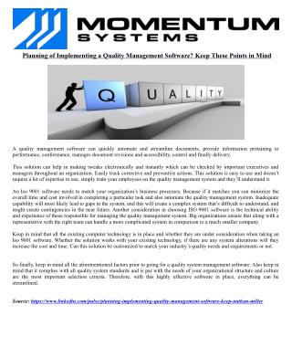 Planning of Implementing a Quality Management Software? Keep These Points in Mind!