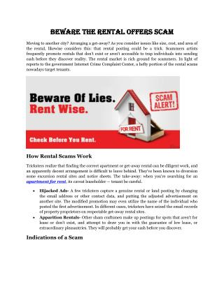 Beware the rental offers Scam