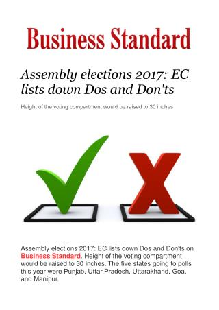 Assembly elections 2017: EC lists down Dos and Don'ts