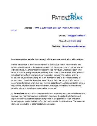 Improving patient satisfaction through efficacious communication with patients
