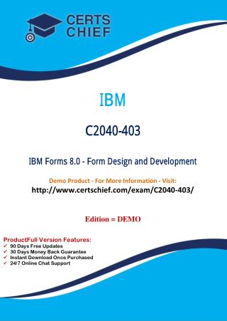 C2040-403 Certification Dumps with PDF Answers