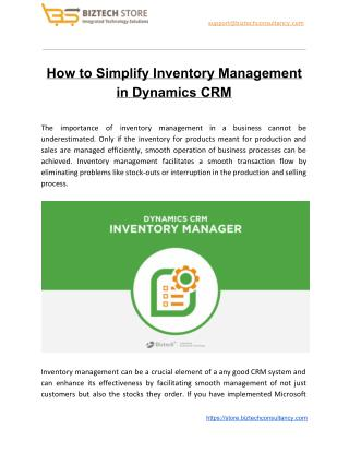 How to Simplify Inventory Management in Dynamics CRM