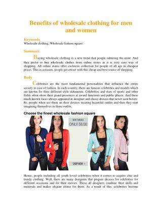Benefits of wholesale clothing for men and women