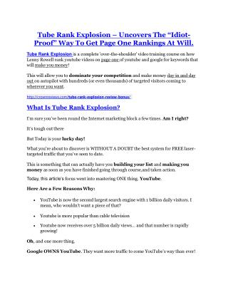 Tube Rank Explosion review & Tube Rank Explosion (Free) $26,700 bonuses