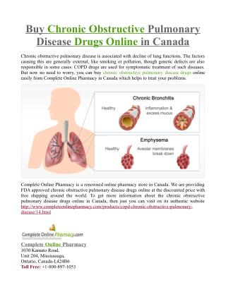 Buy Chronic Obstructive Pulmonary Disease Drugs Online in Canada