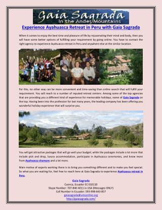 Experience Ayahuasca Retreat in Peru with Gaia Sagrada