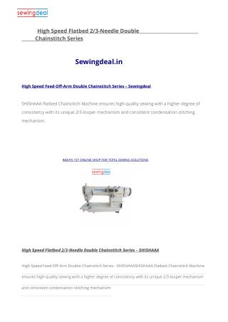 High Speed Feed-Off-Arm Double Chainstitch Series