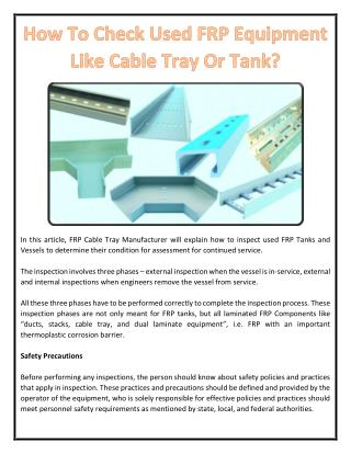 How To Check Used FRP Equipment Like Cable Tray Or Tank?