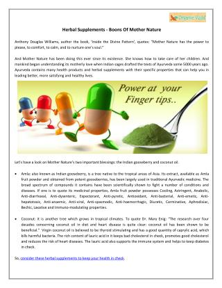 Herbal Supplements - Boons Of Mother Nature