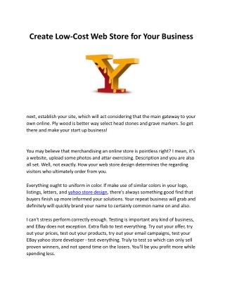 Create Low-Cost Web Store For Your Business