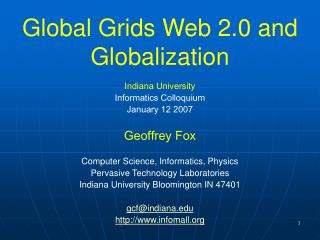 Global Grids Web 2.0 and Globalization