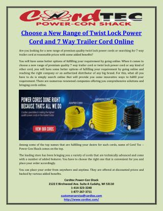 Choose a New Range of Twist Lock Power Cord and 7 Way Trailer Cord Online